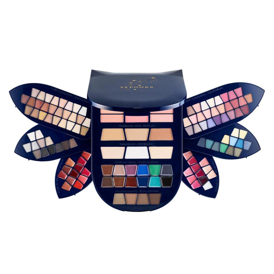 """<p>Every year, Sephora Collection releases a megavault of makeup, and this year's selection doesn't disappoint. With a selection of 78 eyeshadows, 24 lipglosses, 6 blushes, 6 highlighters and bronzers, 4 brow powders, 12 cream eyeliners, the possibilities are endless.<br><strong><a rel=""""nofollow noopener"""" href=""""https://fave.co/2Dk2Gnn"""" target=""""_blank"""" data-ylk=""""slk:Shop it"""" class=""""link rapid-noclick-resp"""">Shop it</a>: </strong>$49, <a rel=""""nofollow noopener"""" href=""""https://fave.co/2Dk2Gnn"""" target=""""_blank"""" data-ylk=""""slk:sephora.com"""" class=""""link rapid-noclick-resp"""">sephora.com</a> </p>"""