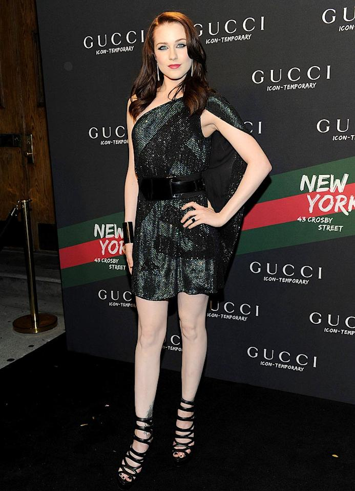 "Another star that tends to be hit-or-miss in the style department is Evan Rachel Wood, but the budding superstar truly impressed at a New York Gucci store launch while wearing one of the fashion house's glittering minis and strappy sandals. Jason Kempin/<a href=""http://www.gettyimages.com/"" target=""new"">GettyImages.com</a> - October 23, 2009"