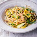 <p>Thinly sliced zucchini and summer squash bulk up this easy vegetarian pasta recipe. Saving a bit of the starchy pasta-cooking water to toss with grated cheese, herbs and bright lemon at the end is the secret to a fast, silky no-cook pasta sauce.</p>