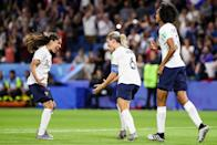 Amandine Henry of France celebrates her goal with teammates the 2019 FIFA Women's World Cup France Round of 16 match between France and Brazil at Stade Oceane on June 23, 2019 in Le Havre, France. (Photo by Zhizhao Wu/Getty Images)