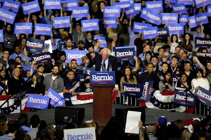 Sen. Bernie Sanders, I-Vt., speaks at a rally in Chicago on Sunday. (Photo: Joshua Lott/Reuters)