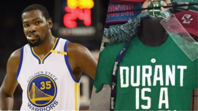 88c3ae2acd4 Boston T-Shirt Vendors Sold 'Durant Is A B*tch' Shirts Prior To KD Tearing  Up The Celtics