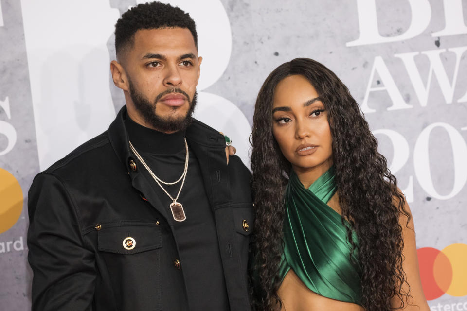 Andre Gray and Leigh-Anne Pinnock of Little Mix pose for photographers upon arrival at the Brit Awards in London, Wednesday, Feb. 20, 2019. (Photo by Vianney Le Caer/Invision/AP)
