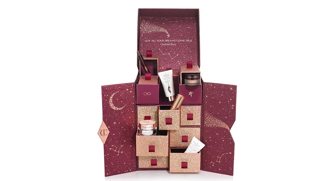"<p>Charlotte Tilbury's highly-anticipated beauty advent calendar features 12 miniature award-winning beauty saviours from the make-up artist's now-famous miracle cream to a must-have clay mask. Available online <a rel=""nofollow"" href=""http://www.charlottetilbury.com/uk/charlottes-beauty-universe-advent-calendar.html?istCompanyId=3dfffc45-1529-45a3-a883-dba601d7c955&istItemId=-xtrwqiqpiw&istBid=tzrt&gclid=Cj0KCQjw6rXeBRD3ARIsAD9ni9C-_SfcwSEYKJ6imMB9s8-xUnoXCuT2ssGTryWwPAXP9CwIbNkRdSUaAivMEALw_wcB&gclsrc=aw.ds&dclid=COievcWgmt4CFYjC3godYRUCYw&ranMID=40203&utm_source=RAN&utm_medium=Affiliate&utm_campaign=TnL5HPStwNw&publisher=2116208:Skimlinks.com&linkType=10&linkName=&offerName=Skimlinks+baseline&ranEAID=TnL5HPStwNw&ranSiteID=TnL5HPStwNw-YCxzLXzQ_L8StckEyCdF5Q&siteID=TnL5HPStwNw-YCxzLXzQ_L8StckEyCdF5Q"">now</a> for £150. </p>"