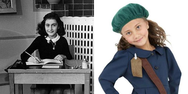 Anne Frank, left, became one of the world's most discussed Jewish victims of the Holocaust after a diary she wrote while hiding from Nazis was recovered. Right, the costume being sold at HalloweenCostumes.com. (Photos: Twitter)