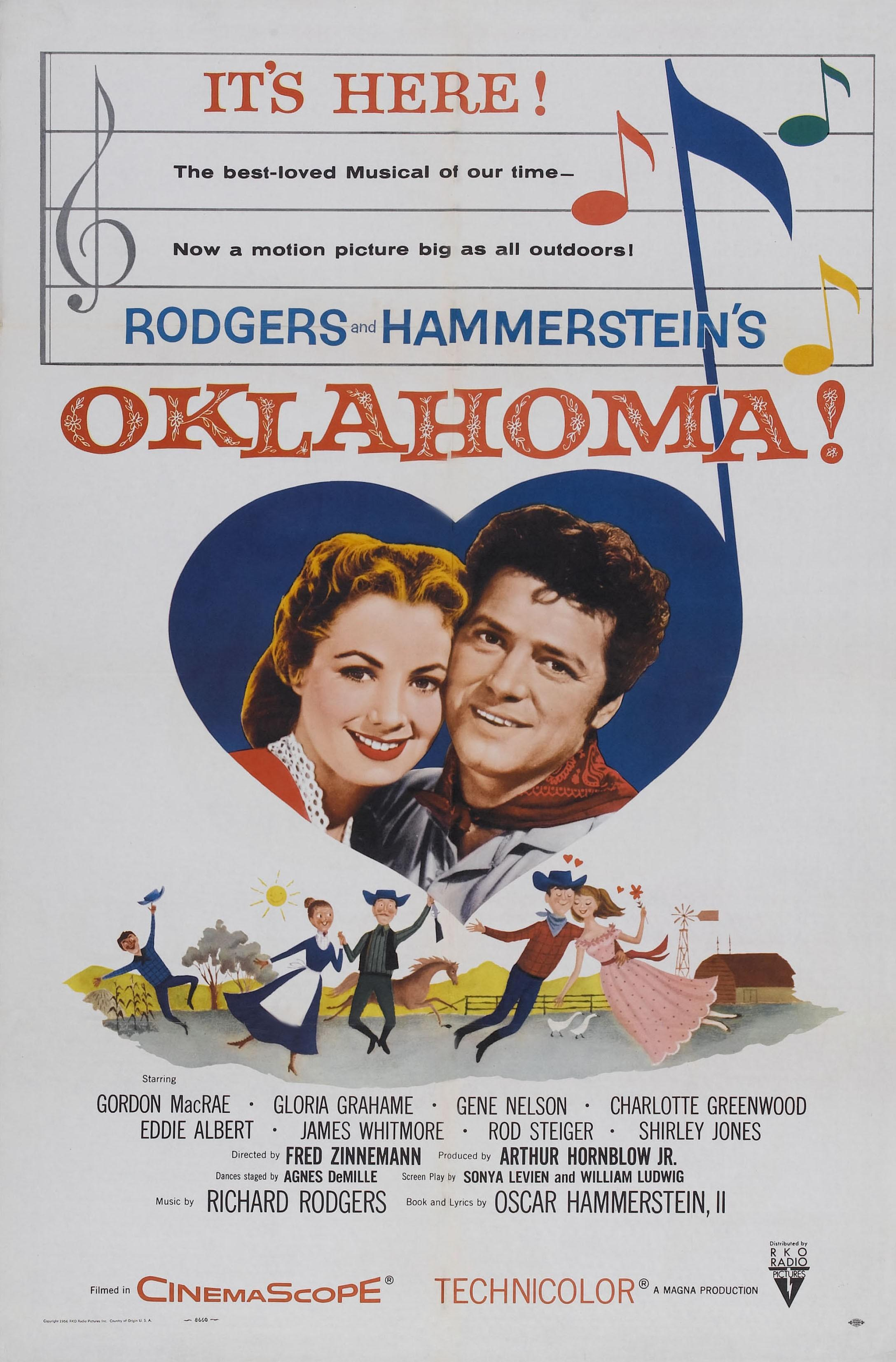 Oklahoma!, poster, from left: Shirley Jones, Gordon MacRae, 1955. (Photo by LMPC via Getty Images)