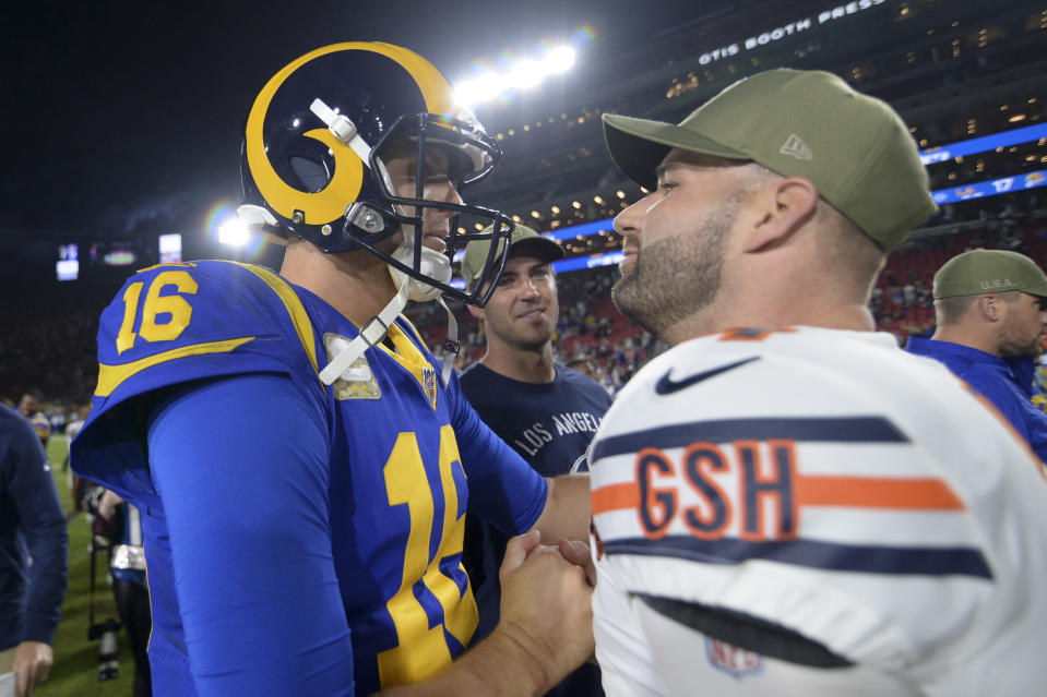 Los Angeles Rams quarterback Jared Goff, left, and Chicago Bears quarterback Mitchell Trubisky meet on the field after an NFL football game Sunday, Nov. 17, 2019, in Los Angeles. The Rams won 17-7. (AP Photo/Kyusung Gong)