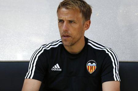 Valencia assistant coach Phil Neville before the game Mandatory Credit: Action Images / Peter Cziborra Livepic