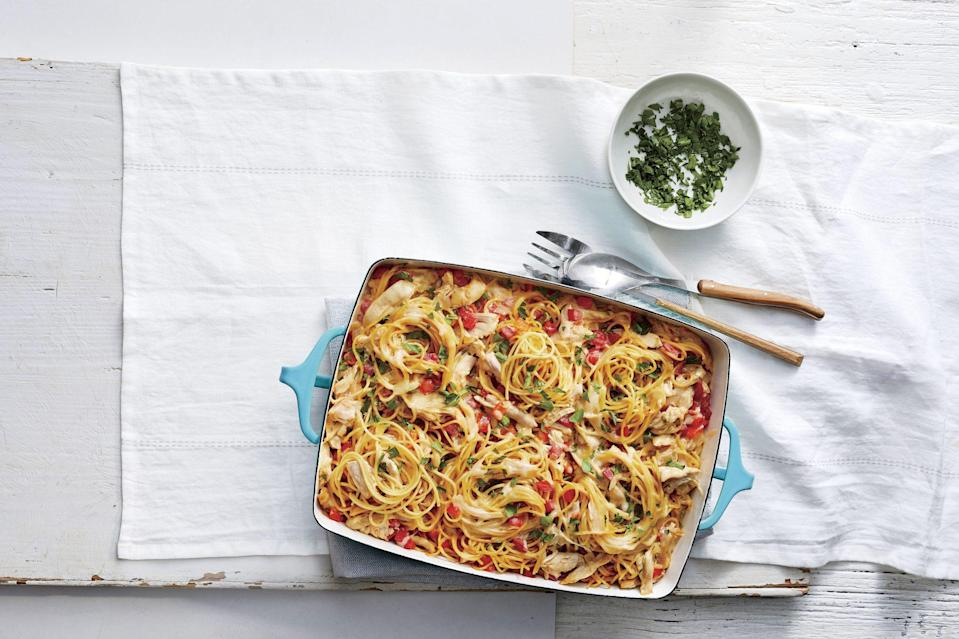 """<p><strong>Recipe: <a href=""""https://www.southernliving.com/recipes/chicken-spaghetti-casserole-recipe"""" rel=""""nofollow noopener"""" target=""""_blank"""" data-ylk=""""slk:Chicken Spaghetti Casserole"""" class=""""link rapid-noclick-resp"""">Chicken Spaghetti Casserole</a></strong></p> <p>One editor <a href=""""https://www.southernliving.com/dish/casserole/chicken-spaghetti-casserole-family-dinner"""" rel=""""nofollow noopener"""" target=""""_blank"""" data-ylk=""""slk:made this easy casserole"""" class=""""link rapid-noclick-resp"""">made this easy casserole</a> for family dinner, and her mom wouldn't leave before she gave her the recipe. If that isn't proof you should try it, we're not sure what is!</p>"""