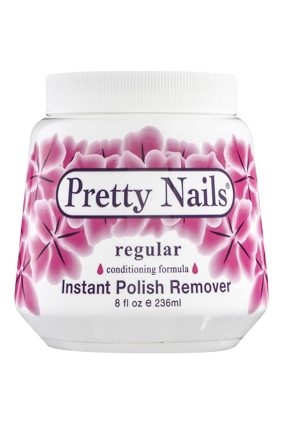 """<p><strong>Pretty Nails</strong></p><p>amazon.com</p><p><strong>$14.99</strong></p><p><a href=""""https://www.amazon.com/dp/B000142KZ8?tag=syn-yahoo-20&ascsubtag=%5Bartid%7C10049.g.33348729%5Bsrc%7Cyahoo-us"""" rel=""""nofollow noopener"""" target=""""_blank"""" data-ylk=""""slk:Shop Now"""" class=""""link rapid-noclick-resp"""">Shop Now</a></p><p>Okay, when I first heard of this sponge nail remover, I thought it was a scam. Like, there was no way removing your polish could be that easy. But, surprisingly, there really is no catch. The jar comes with a big sponge that's soaked in a nail polish remover formula. Put your finger inside the hole in the sponge, twist, <strong>and when you take out your nail, the <a href=""""https://www.cosmopolitan.com/style-beauty/beauty/g30756911/blue-nail-polish-colors-ideas/"""" rel=""""nofollow noopener"""" target=""""_blank"""" data-ylk=""""slk:polish"""" class=""""link rapid-noclick-resp"""">polish</a> will be completely gone.</strong> Sounds fake, but I swear it's not. </p>"""