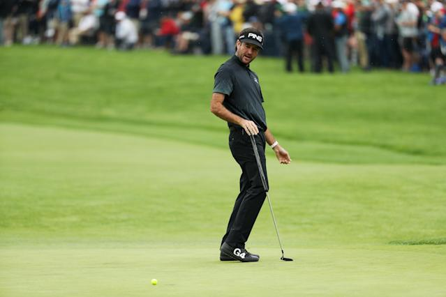 Bubba Watson of the United States reacts on the first hole during the second round of the 2019 PGA Championship at the Bethpage Black course on May 17, 2019 in Farmingdale, New York. (Photo by Patrick Smith/Getty Images)