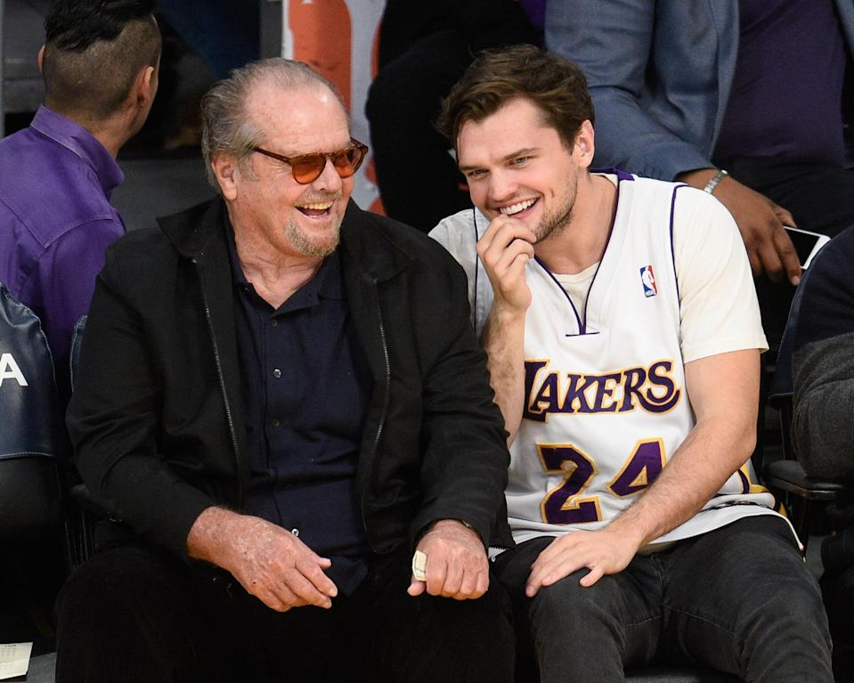 """<p>It seems Ray's love of the Lakers is a trait he shares with his dad. While <a class=""""link rapid-noclick-resp"""" href=""""https://www.popsugar.com/Jack-Nicholson"""" rel=""""nofollow noopener"""" target=""""_blank"""" data-ylk=""""slk:Jack Nicholson"""">Jack Nicholson</a> rarely makes public appearances these days, there's a good chance you can see him courtside at a Lakers game with Ray.</p>"""