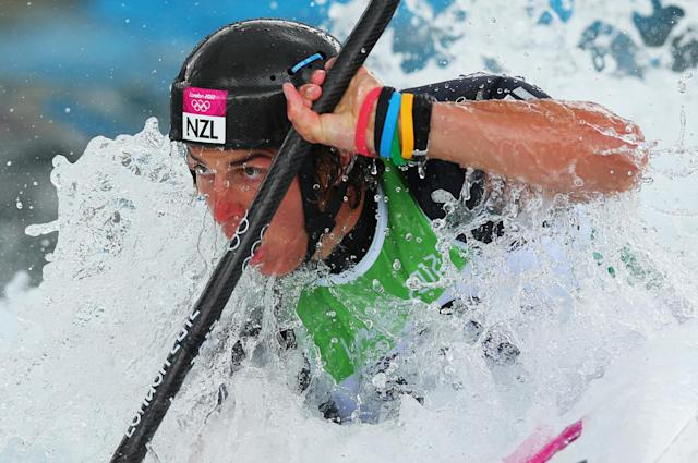 LONDON, ENGLAND - JULY 29: Mike Dawson of New Zealand competes during the Men's Kayak (K1) Canoe Slalom on Day 2 of the London 2012 Olympic Games at Lee Valley White Water Centre on July 29, 2012 in London, England. (Photo by Phil Walter/Getty Images)