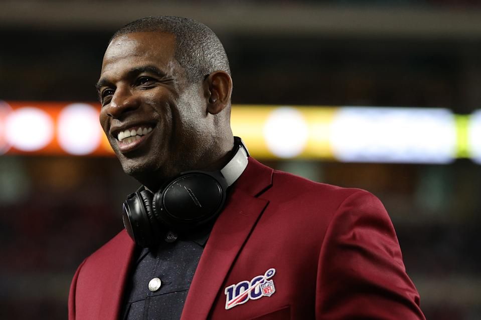 Deion Sanders of the NLF 100 All-Time Team is honored on the field prior to Super Bowl LIV between San Francisco and Kansas City on Feb. 2, 2020 in Miami, Florida. (Maddie Meyer/Getty Images)