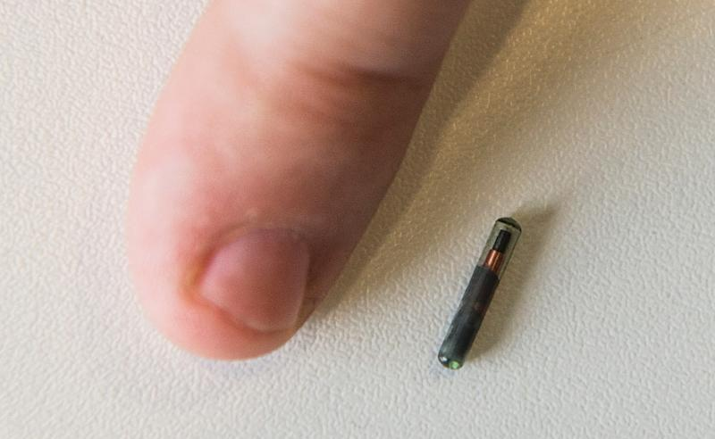 A Kaspersky employee places his thumb next to the grain-sized NFC (Near Field Communications) chip (AFP Photo/John MacDougall)