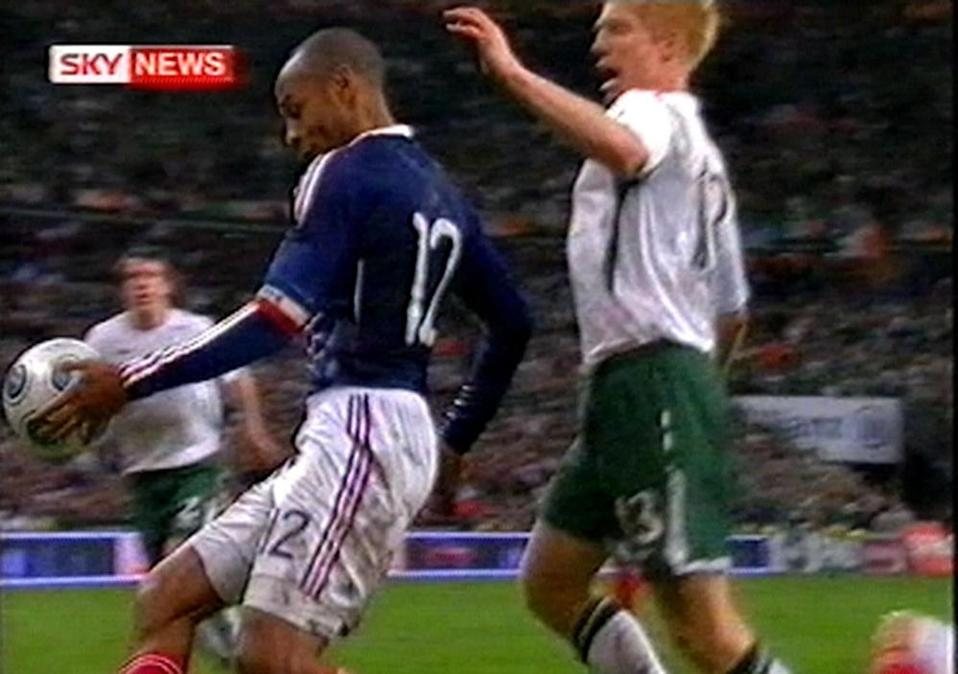 Video grab taken from Sky News of France's Thierry Henry handling the ball directly before France score the winning goal against Ireland, November 20009
