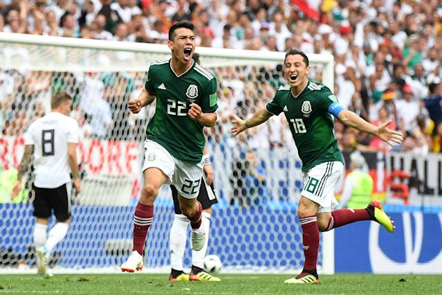 Hirving Lozano (22) celebrates after scoring the only goal in Mexico's 1-0 win over Germany. (Getty)