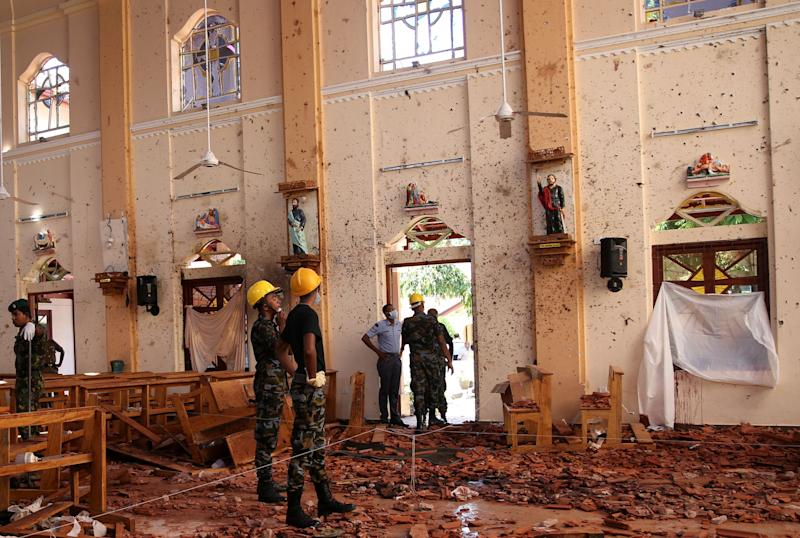 A view of the damage at St Sebastian's Catholic Church in Negombo. Source: Reuters