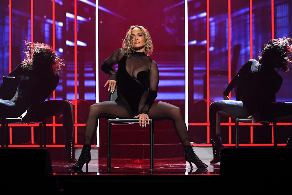 Jennifer Lopez performs onstage for the 2020 American Music Awards at Microsoft Theater on November 22