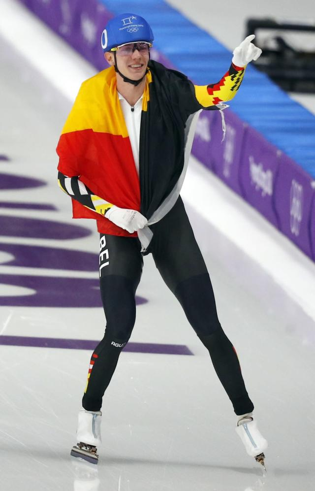 Speed Skating - Pyeongchang 2018 Winter Olympics - Men's Mass Start competition finals - Gangneung Oval - Gangneung, South Korea - February 24, 2018 - Bart Swings of Belgium reacts after winning a silver medal. REUTERS/Phil Noble