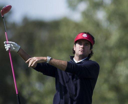 Team USA's Bubba Watson watches his drive on the 9th hole during the afternoon Four Ball Match on the first day of the 39th Ryder Cup at the Medinah Country Club September 28. Watson and Webb Simpson were level at the turn for the United States with Justin Rose and Ian Poulter in the lead match for Saturday's mornings Ryder Cup foursomes