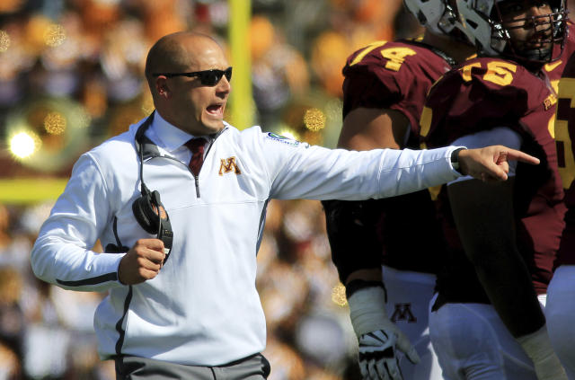 Minnesota head coach P.J. Fleck directs his team against Maryland. (AP)