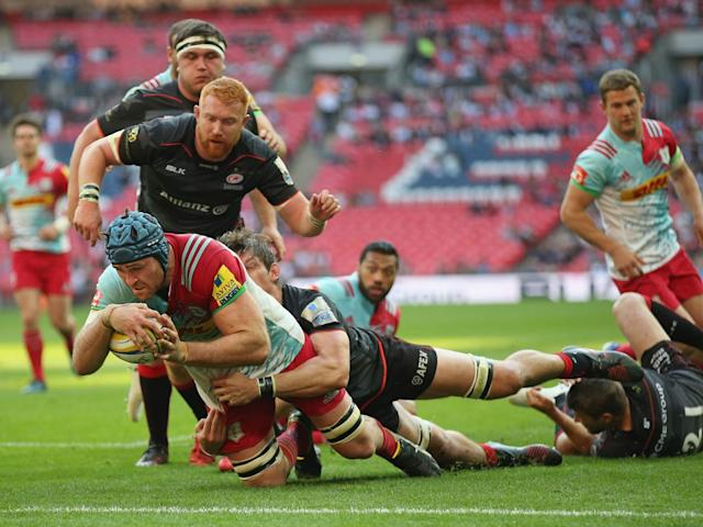 Horwill goes over for Harlequins' solitary try (Getty)
