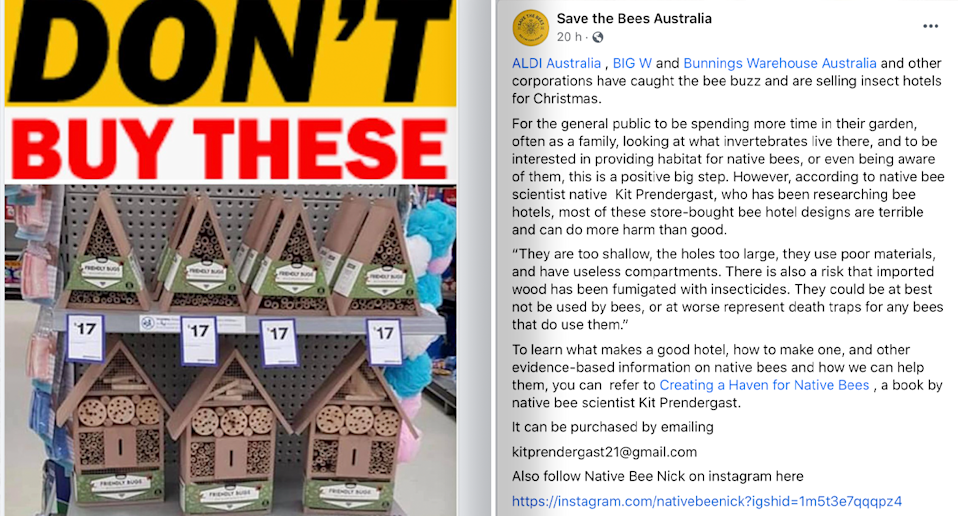 A screenshot of the Save the Bees Australia Facebook post