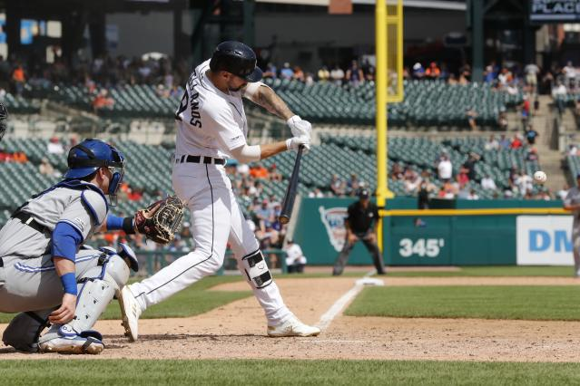 Detroit Tigers designated hitter Nicholas Castellanos connects for a walk off solo home run during the tenth inning of a baseball game against the Toronto Blue Jays, Sunday, July 21, 2019, in Detroit. (AP Photo/Carlos Osorio)