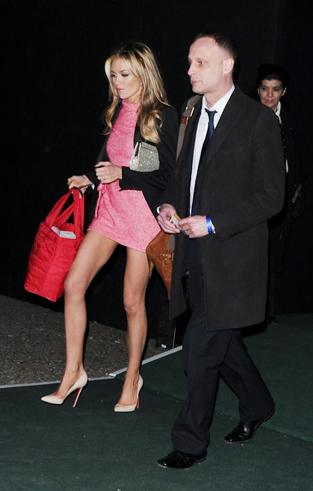 Abbey Clancy was pretty in pink at the Universal Island records party.