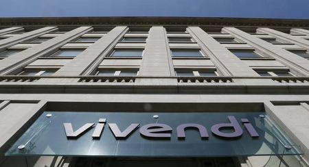 A logo is seen over the main entrance of the entertainment-to-telecoms conglomerate Vivendi's headquarters in Paris