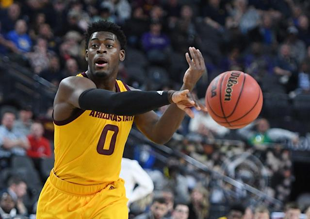 LAS VEGAS, NEVADA - MARCH 15: Luguentz Dort #0 of the Arizona State Sun Devils passes against the Oregon Ducks during a semifinal game of the Pac-12 basketball tournament at T-Mobile Arena on March 15, 2019 in Las Vegas, Nevada. The Ducks defeated the Sun Devils 79-75 in overtime. (Photo by Ethan Miller/Getty Images)