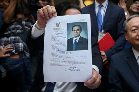 FILE PHOTO: The application form of candidate for prime minister, filled out by Thailand's Prime Minister Prayuth Chan-ocha, is seen at the election commission office in Bangkok, Thailand February 8, 2019. REUTERS/Athit Perawongmetha/File Photo
