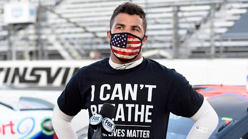 Pictured here, NASCAR driver Bubba Wallace showing his support for Black Lives Matter.