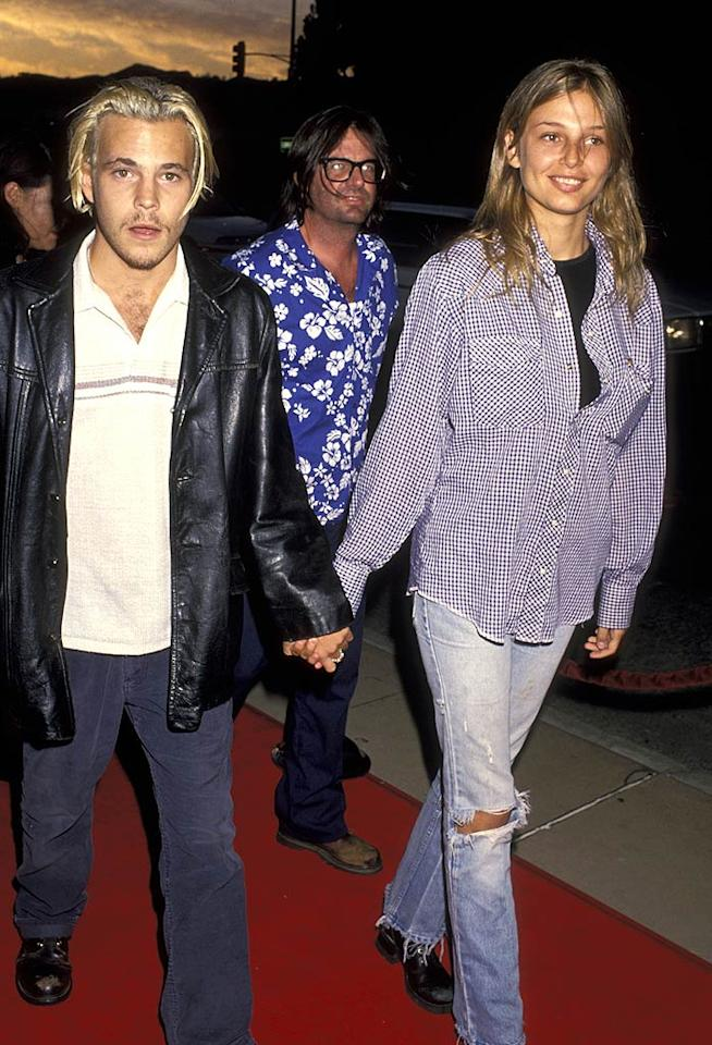 """The random guy in the background was attempting a Hawaiian-grunge combo, but in the foreground, actor Stephen Dorff and his then-gal pal, model Bridget Hall, fully embodied the look at the premiere of """"The Adventures of Priscilla, Queen of the Desert"""" in 1994. Ron Galella/<a href=""""http://www.wireimage.com"""" target=""""new"""">WireImage.com</a> - August 9, 1994"""