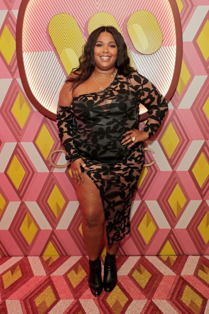 <p>The starlet paired a black sheer off-the-shoulder number with ankle booties at the Warner Music & CIROC BRIT Awards house party.<br></p>