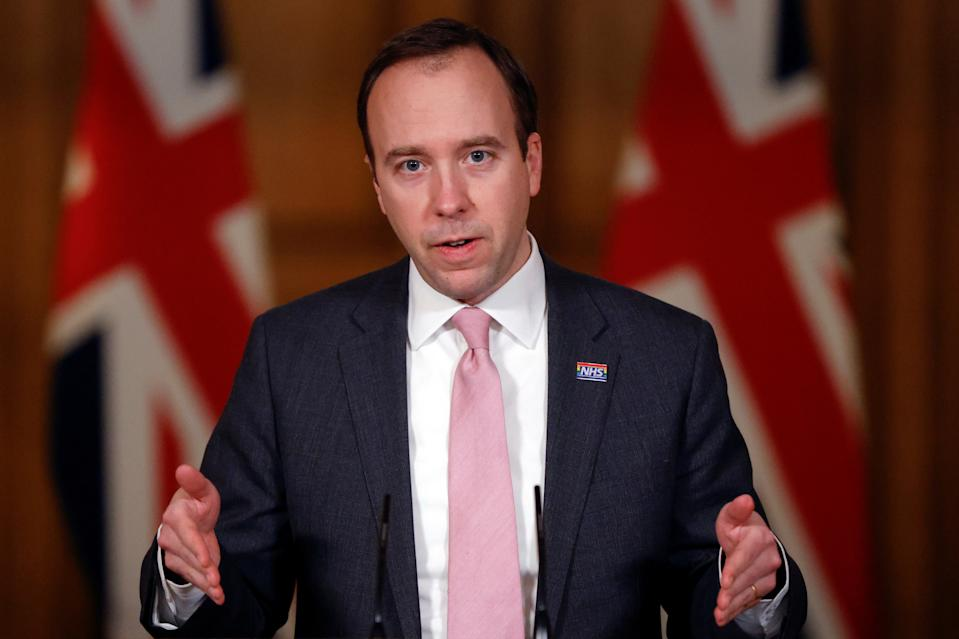 Health Secretary Matt Hancock during a media briefing on coronavirus (COVID-19) in Downing Street, London. Picture date: Monday January 25, 2021.