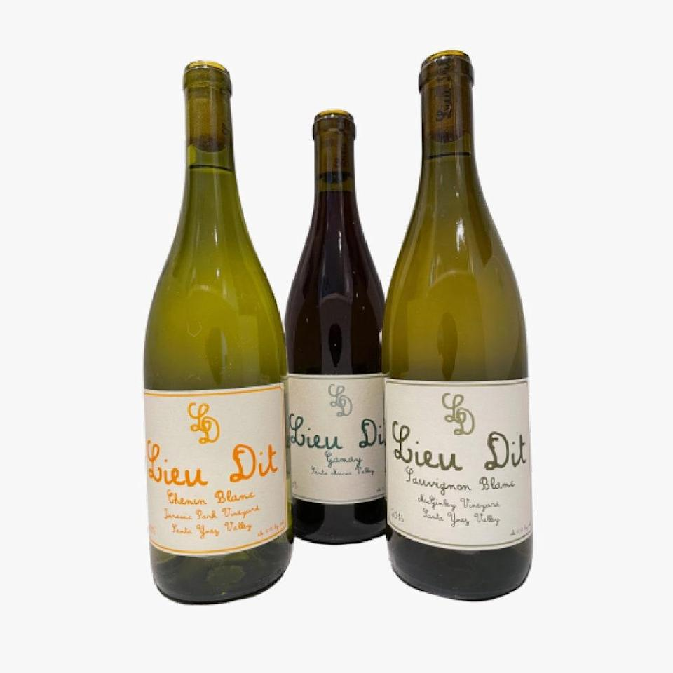 """A vintage is a wine produced with grapes grown in a single year, and Lieu Dit neatly packages up their three vintages by year. $110, Lieu Dit. <a href=""""https://www.lieuditwinery.com/capsules/2016-time-capsule"""" rel=""""nofollow noopener"""" target=""""_blank"""" data-ylk=""""slk:Get it now!"""" class=""""link rapid-noclick-resp"""">Get it now!</a>"""