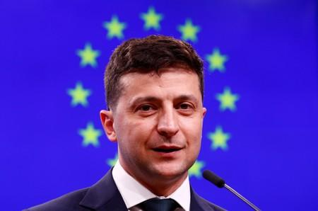 FILE PHOTO: Ukrainian President Zelenskiy holds a news conference after meeting EU Council President Tusk in Brussels