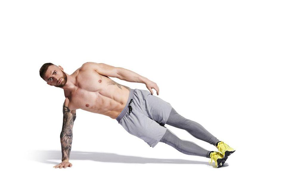 <p><strong>Sets: 2</strong></p><p><strong>Reps: 60sec</strong></p><p><strong>Rest: 0</strong></p><p>Lie on your left side with your knees straight and prop your upper body up to take its weight on your forearm. Brace your core and raise your hips until your body forms a straight line. Hold this position while breathing deeply. Then roll over and repeat on the other side.</p>