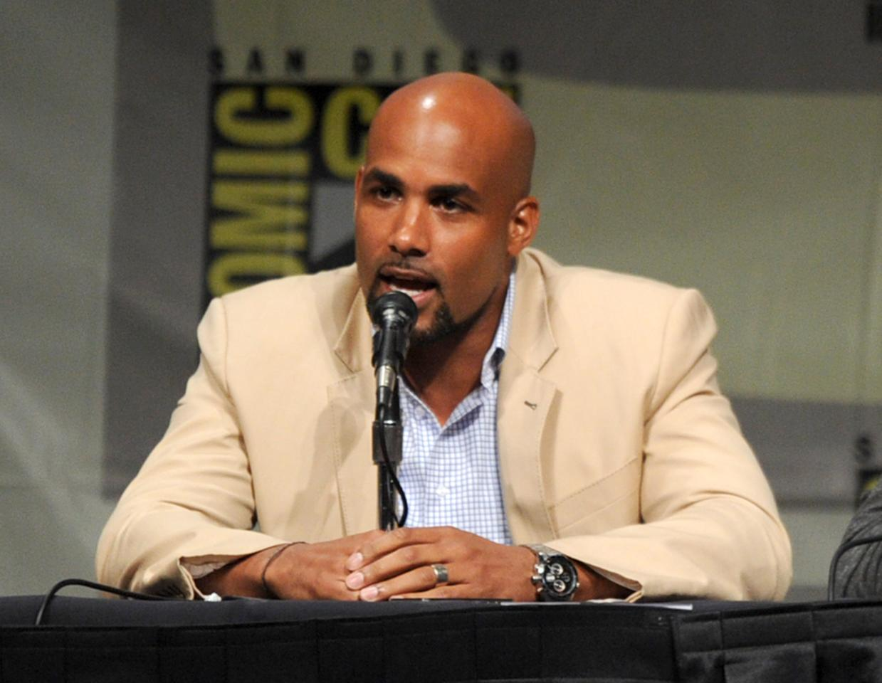 "SAN DIEGO, CA - JULY 13:  Actor Boris Kodjoe speaks at the ""Screen Gems' ""Resident Evil: Retribution"" panel during Comic-Con International 2012 at San Diego Convention Center on July 13, 2012 in San Diego, California.  (Photo by Kevin Winter/Getty Images)"