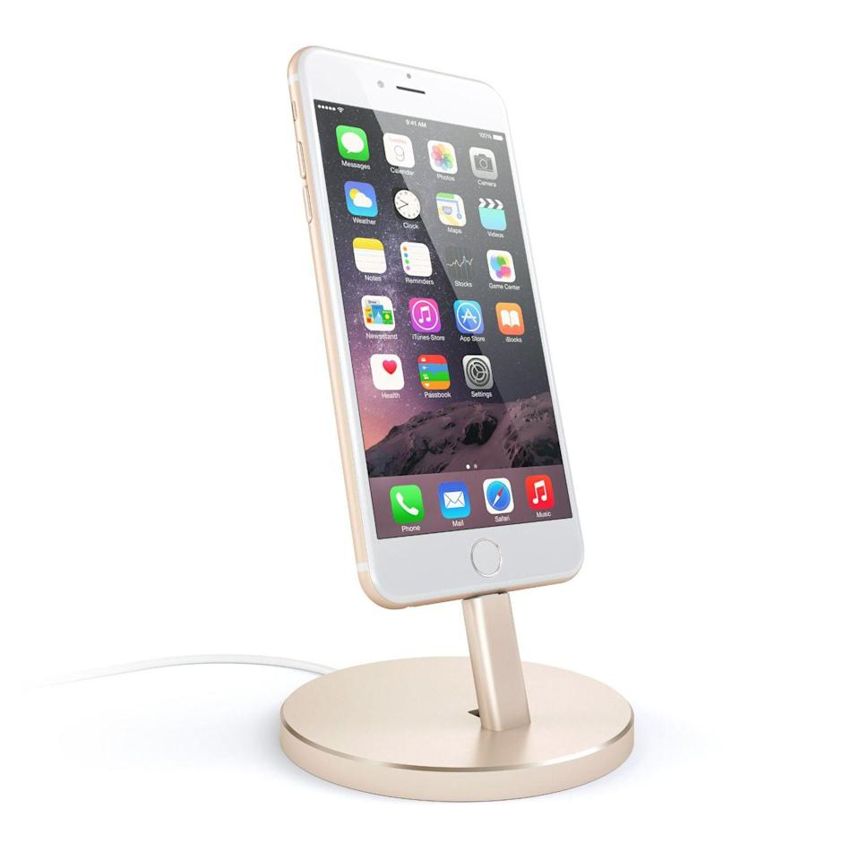 """<p><a rel=""""nofollow noopener"""" href=""""https://www.amazon.com/Satechi-Aluminum-Desktop-Charging-iPhone/dp/B01B59TY9C/"""" target=""""_blank"""" data-ylk=""""slk:BUY NOW"""" class=""""link rapid-noclick-resp"""">BUY NOW</a> <strong><em>$24.99, Amazon</em></strong></p><p>FaceTime, follow online recipes, or multitask in style with a sleek charging station. Bonus: The four different finishes match each iPhone color.</p>"""