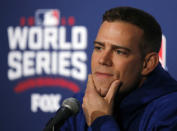 FILE - In this Oct. 27, 2016, file photo, Chicago Cubs president for baseball operations Theo Epstein speaks during a news conference for Game 3 of the Major League Baseball World Series against the Cleveland Indians, in Chicago. Theo Epstein, who transformed the long-suffering Chicago Cubs and helped bring home a drought-busting championship in 2016, is stepping down after nine seasons as the club's president of baseball operations. The team announced Monday, Nov. 16, 2020, Epstein is leaving the organization, and general manager Jed Hoyer is being promoted to take his place.(AP Photo/Charles Rex Arbogast, File)