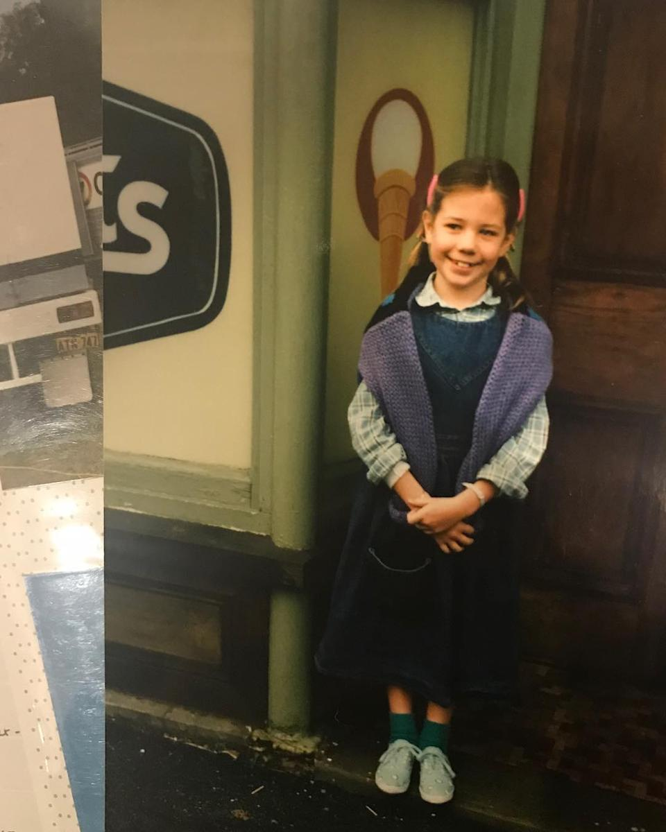 A photo of actor Kate Ritchie aged eight years old on set of Home & Away in Balmain, Sydney in 1987