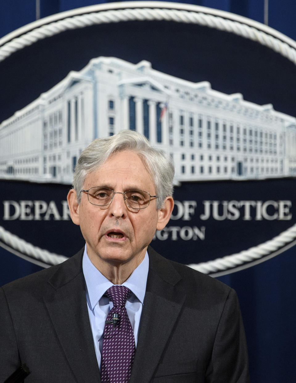 Attorney General Merrick Garland speaks at the Department of Justice in Washington, Monday, April 26, 2021. The Justice Department is opening a sweeping probe into policing in Louisville after the March 2020 death of Breonna Taylor, who was shot to death by police during a raid at her home. (Mandel Ngan/Pool via AP)