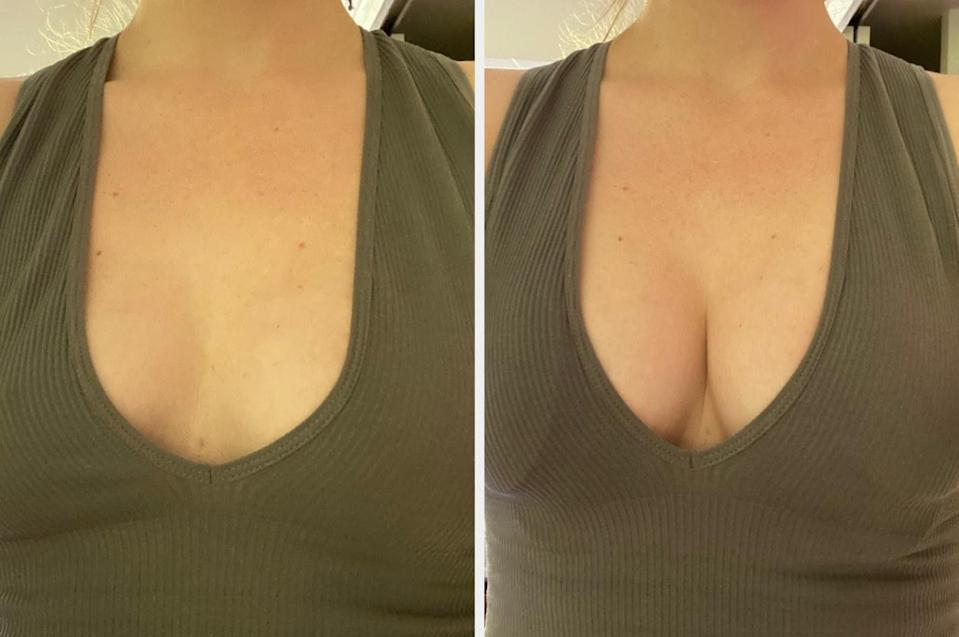 Shelby's cleavage before and after trying on the Misses Kisses bra in a low-cut tank top