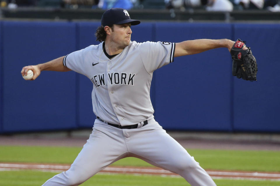 New York Yankees starting pitcher Gerrit Cole throws to a Toronto Blue Jays batter during the fifth inning of a baseball game Wednesday, June 16, 2021, in Buffalo, N.Y. (AP Photo/Jeffrey T. Barnes)