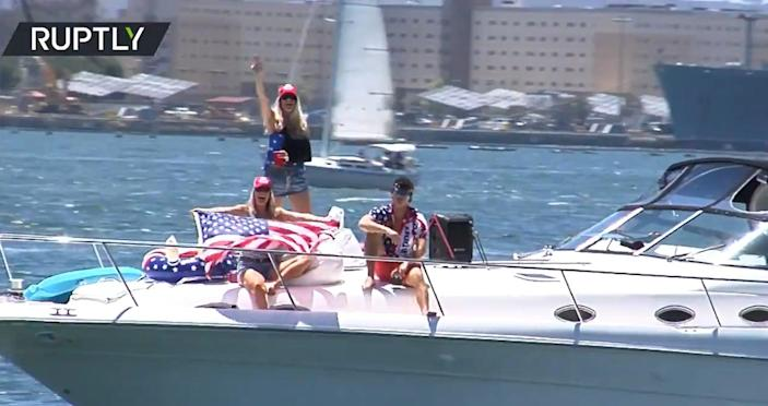 Supporters of former President Donald Trump celebrating his 75th birthday during a 'Trumparilla MAGA Fest' boat parade in San Diego on 13 June 2021 (Screengrab/Ruptly)
