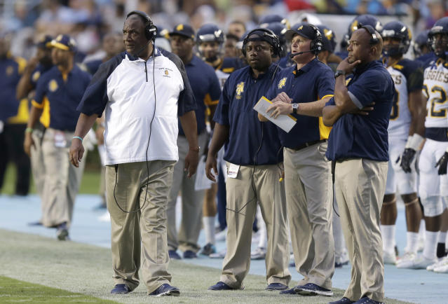 North Carolina A&T coach Rod Broadway watches during the first half of an NCAA college football game against North Carolina on Sept. 12, 2015. (AP)