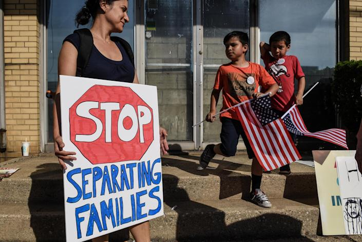 <p>People participate in a protest against recent U.S. immigration policy that separates children from their families when entering the United States as undocumented immigrants in front of a Homeland Security facility in Elizabeth, N.J., June 17, 2018. (Photo: Stephanie Keith/Reuters) </p>